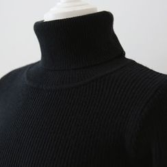 DAILY LOOK - Turtle-Neck Ribbed Knit Top