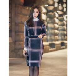 GUMZZI - High-Neck Check Top + Skirt