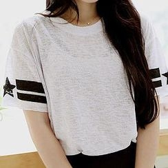 Sechuna - Scoop-Neck Knit T-Shirt