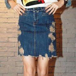Isadora - Distressed Denim Skirt