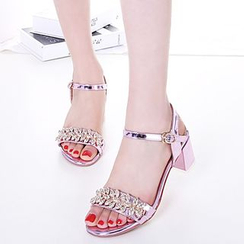 Pastel Pairs - Embellished Block Heel Sandals