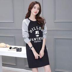 Runway Queen - Print Long Sleeve T-Shirt Dress