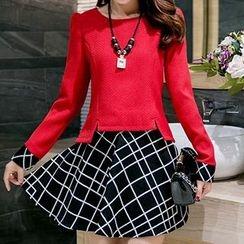 Fashion Street - Set: Long-Sleeve Slit Blouse + Check Skirt
