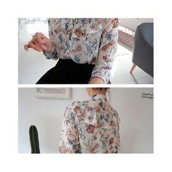 LEELIN - Floral Print Frilled Chiffon Blouse