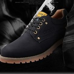 Preppy Boys - Letter-Embossed Lace-Up Shoes