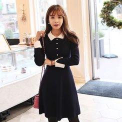 DABAGIRL - Contrast-Collar Wool Blend Knit A-Line Dress