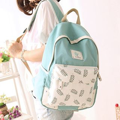 Canvas Love - Leaf Print Canvas Backpack
