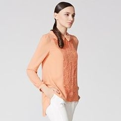 O.SA - Crochet-Panel Pleated-Back Blouse