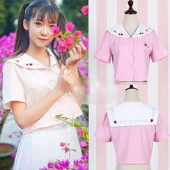 GOGO Girl - Strawberry Embroidered Short-Sleeve Sailor Collar Shirt