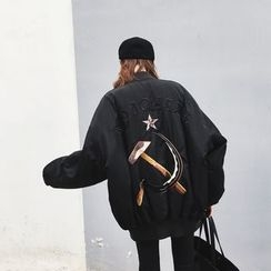 A7 SEVEN - Embroidered Loose Fit Bomber Jacket