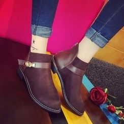 Yoflap - Faux Leather Panel Ankle Boots