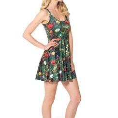 Omifa - Sleeveless Christmas Tree-Print A-Line Dress