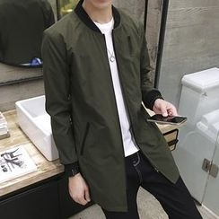 LIBIN - 純色長款拉鍊夾克
