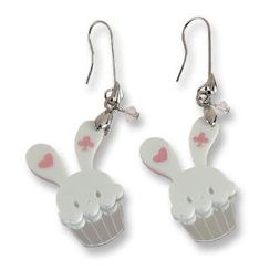Sweet & Co. - Sweet White Bunny Cupcake of Heart Swarovski Crystal Dangle Earrings