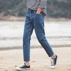 JUN.LEE - Embroidered Straight-Cut Jeans