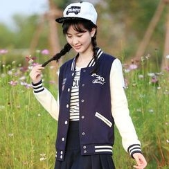 Pipafellow - Embroidered Buttoned Baseball Jacket