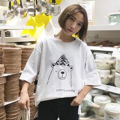 Dream Bear - Elbow-Sleeve Printed T-Shirt