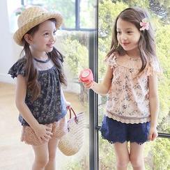 Seashells Kids - Kids Set: Floral Print Top + Eyelet Lace Shorts