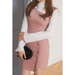 migunstyle - Mock-Neck Frilled-Trim Top