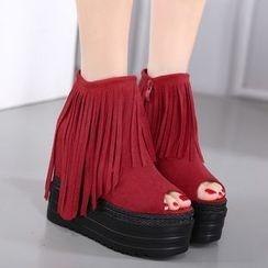 Anran - Fringed Platform Hidden Wedge Peep Toe Sandals