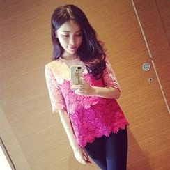QZ Lady - Elbow-Sleeve Gradient Floral Top