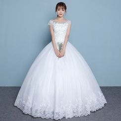 Luxury Style - Mesh Trim Cap Sleeve Wedding Gown