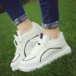 SouthBay Shoes - Contrast Trim Lace Up Platform Sneakers