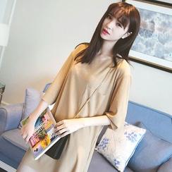 Wimi girls - Plain 3/4-Sleeve T-Shirt Dress