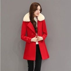 Romantica - Wool Blend Furry-Collar Double-Breasted Coat