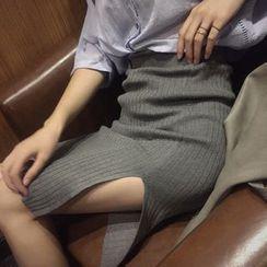 Big Cat - Split Knit Skirt