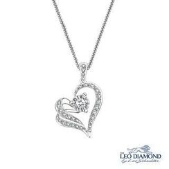 Leo Diamond - The Blissful Ring Collection - 18K White Gold Heart-Shaped Love Diamond Pendant Necklace (16')