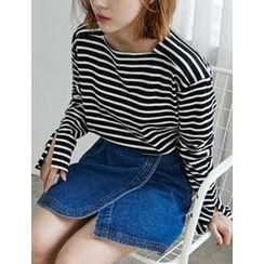 FROMBEGINNING - Square-Neck Striped T-Shirt