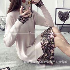 Poppy Love - Floral Print Panel Long Sleeve Sweater Dress