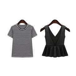 GRACI - Set : Stripe Short-Sleeve T-shirt + Bustier Top