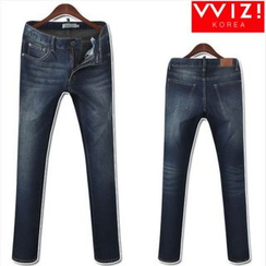 WIZIKOREA - Washed Jeans