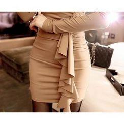 Marlangrouge - Ruffle-Detail Mini Bodycon Dress