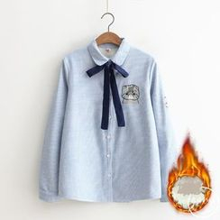 PANDAGO - Cat Embroidered Tie Neck Striped Shirt