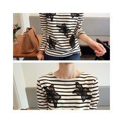 LEELIN - Floral Appliqué Striped T-Shirt