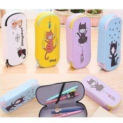School Time - Cat Print Pencil Case