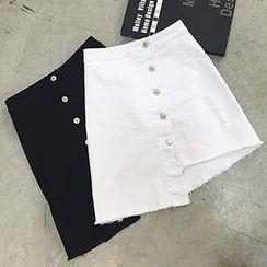 Glen Glam - Asymmetric Buttoned Skirt