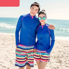 Morning Dew - Couple Matching Striped Swim Shorts