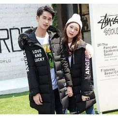 Dream Girl - Couple Matching Furry Trim Lettering Long Padded Jacket