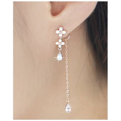 Miss21 Korea - Rhinestone Flower Drop Earrings