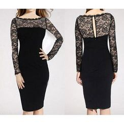 Forest Of Darama - Long-Sleeve Lace Panel Sheath Dress