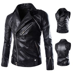 Constein - Convertible Faux Leather Biker Jacket