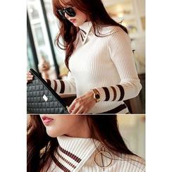 REDOPIN - Zipped Turtleneck Rib-Knit Sweater