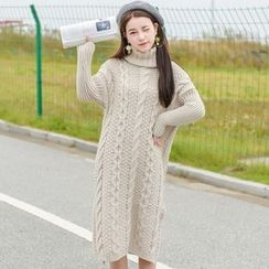 Moriville - Turtleneck Cable Knit Midi Dress