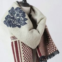 Ms Bean - Fringed Embroidered Panel Scarf