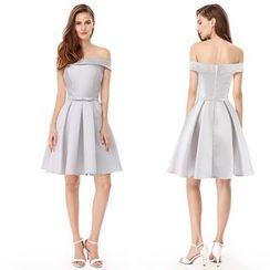 Ever Pretty - Off Shoulder Pleated Cocktail Dress