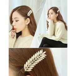 soo n soo - Leaf Faux-Pearl Hair Claw